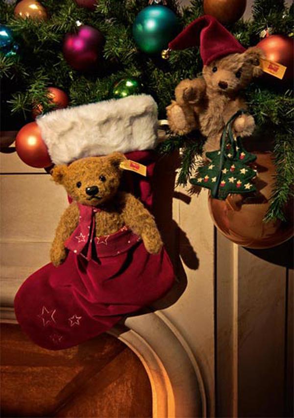 テディベアとクリスマスのストッキング